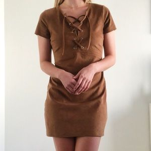 Express Brown Suede Mini Dress